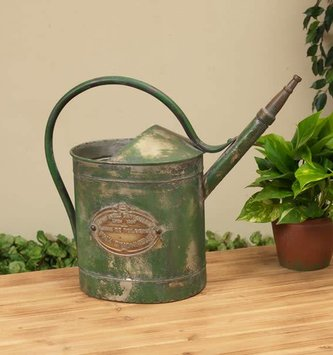 Aged Green Metal Watering Can