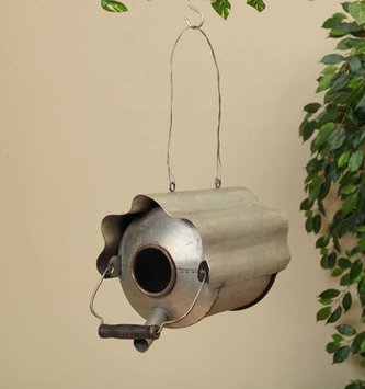 Antique Gray Oil Can Birdhouse