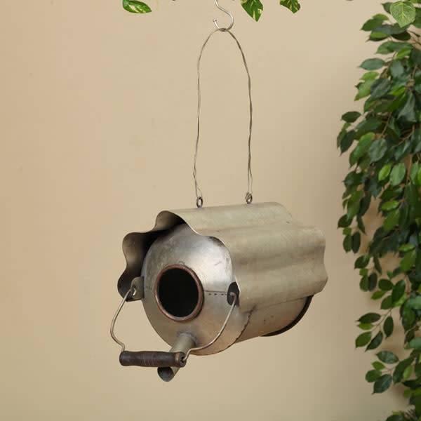 Antique Gray Oil Can Birdhouse