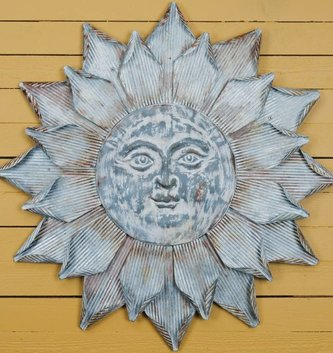 Medium Galvanized Sun Face