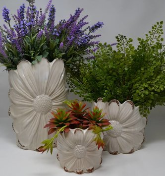 Distressed Daisy Container (3 Sizes)