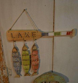 Wood & Rope Fish Lake Sign