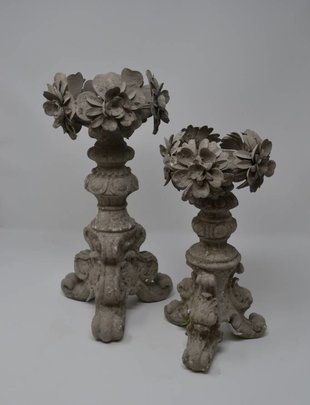 Gray Disressed Floral Candlestick (2 Sizes)