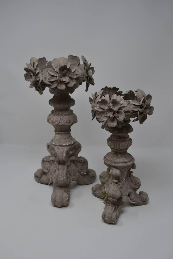 Gray Disressed Floral Candlestick