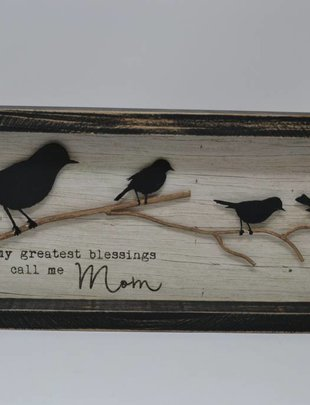 Call Me Mom Framed Bird Sign