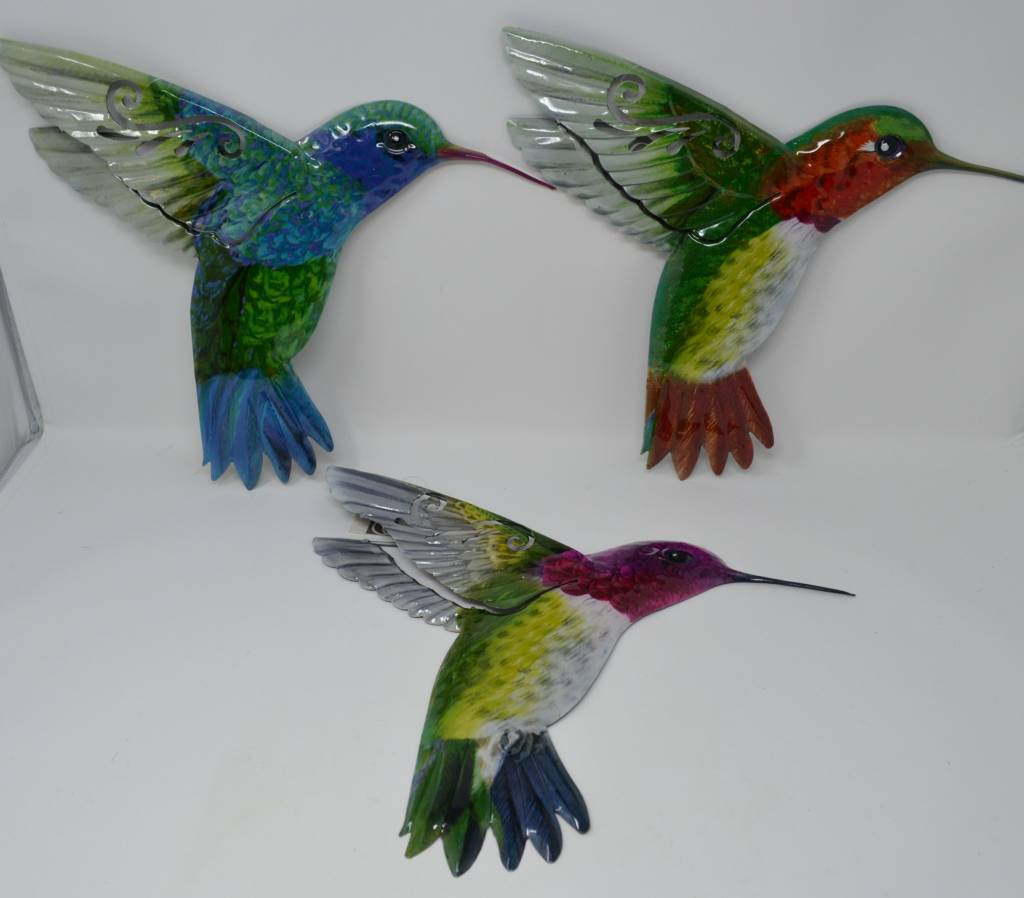 Large Colorful Metal Hummingbird