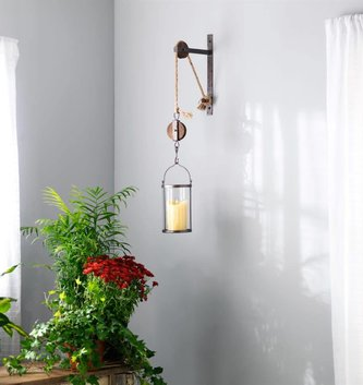 Pulley Mounted Glass Vase