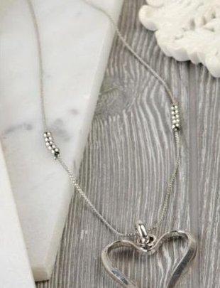 Stylized Silver Heart Necklace