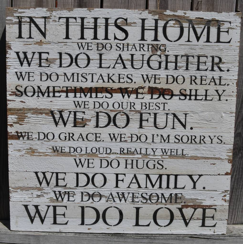 In This Home Reclaimed Pallet Sign