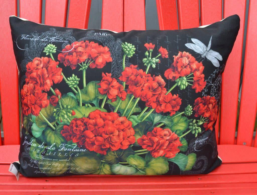 Black Geranium Pillow