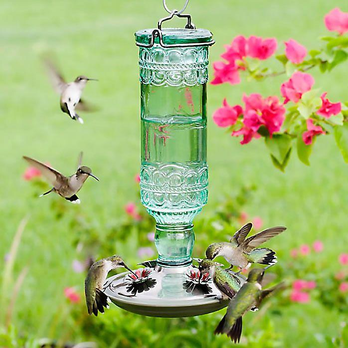 Antique Green Hummingbird Feeder