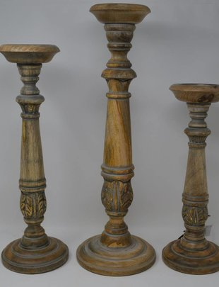 Set of 3 Gray Washed Candlesticks