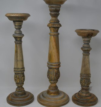 Set of 3 Gold & Gray Wooden Candlesticks