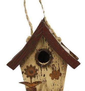 Cream Slatted Roof Birdhouse