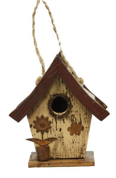 Cream Slated Roof Birdhouse