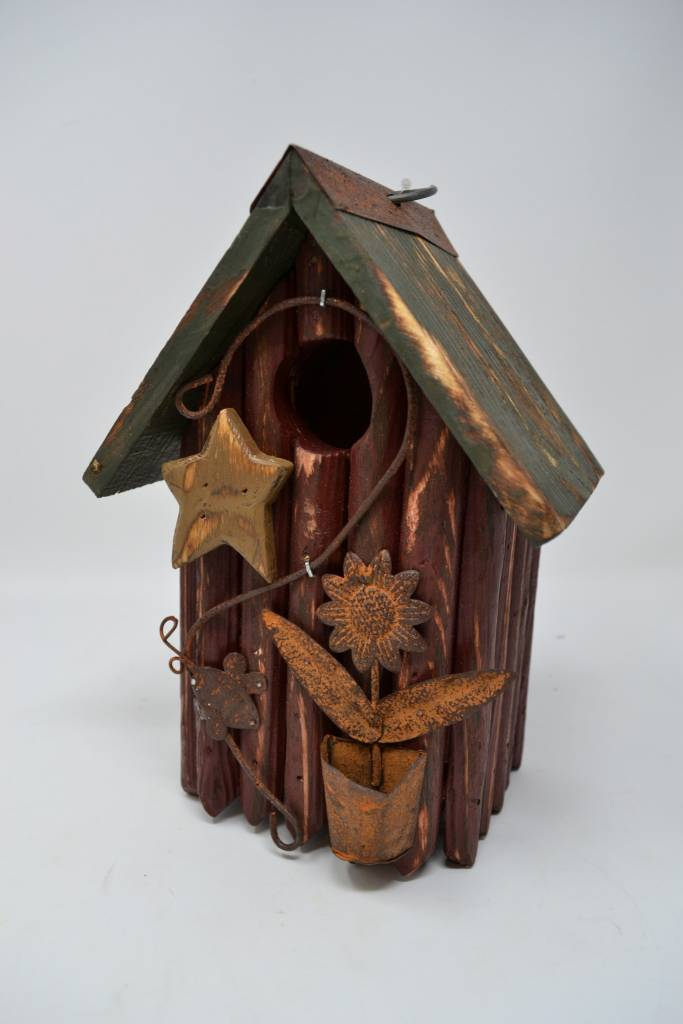 Burgundy Picket Birdhouse