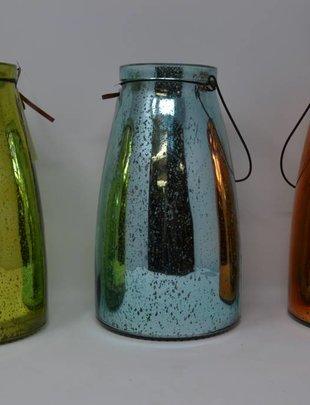 Mercury Glass Lantern w/ Lights (3 Colors)