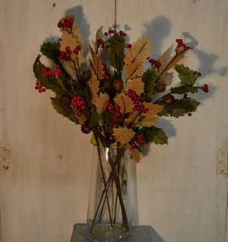 Burlap Holly Jingle Spray (2 Colors)