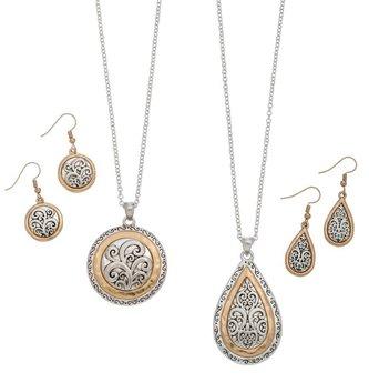 Scroll Necklace & Earring Set (2 styles)