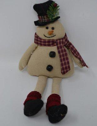 Plaid Scarf Linen Snowman Ornament