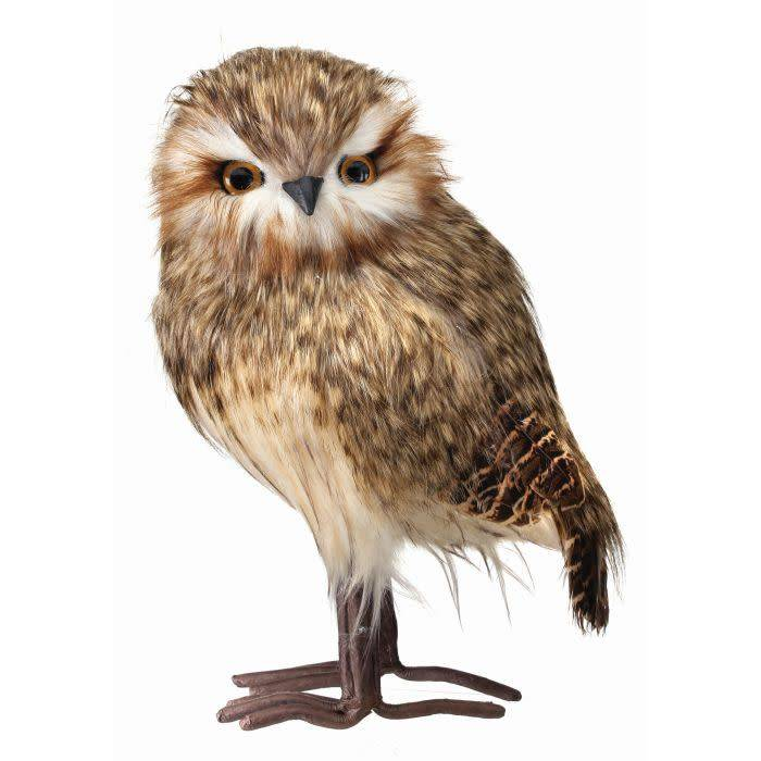 """11.5"""" Speckled Feather Standing Owl"""