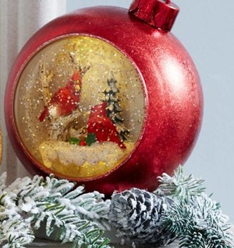 Musical Ornament Snow Globe w/ Cardinals