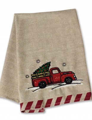Embroidered Red Truck Towel