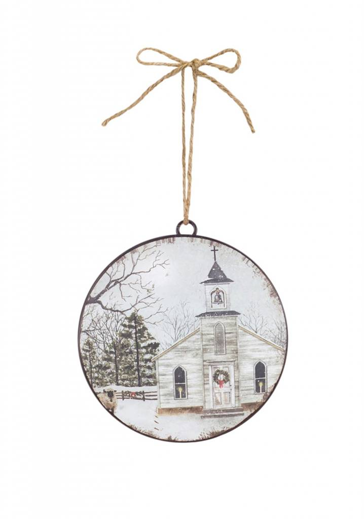 Country Church Disc Ornament
