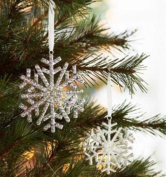 Set of 2 Rhinestone Snowflake Ornaments