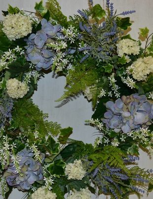 Blue Hydrangea Garden Fresh Wreath