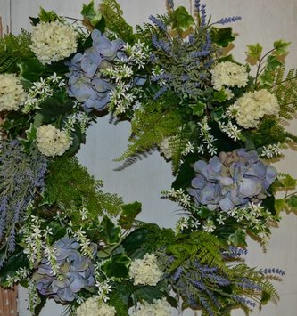 Blue Hydrangea Garden Fresh Wreath