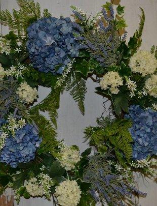 Whimsical Blue Hydrangea Wreath