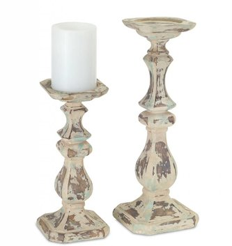 Set of 2 Cream Distressed Candle Sticks