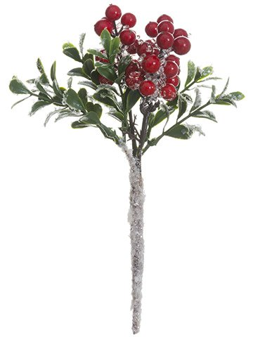 "8"" Iced Berry Boxwood Pick"