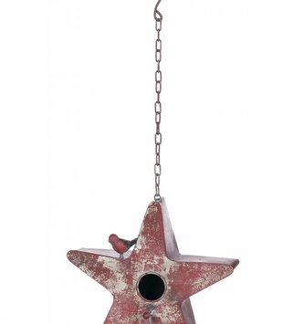 Metal Red Star Birdhouse