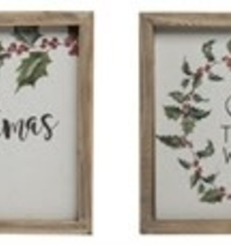 Framed Holly Christmas Sign (4 Styles)