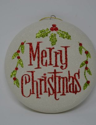 Merry Christmas Holly Ornament