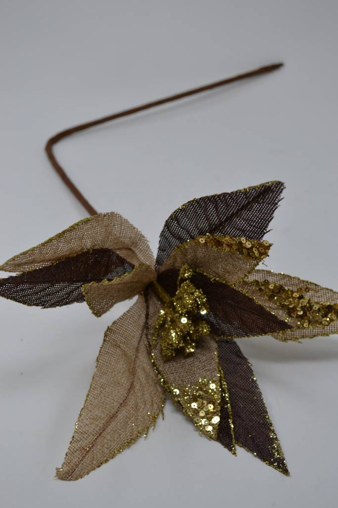 Burlap Sequin Poinsettia Stem