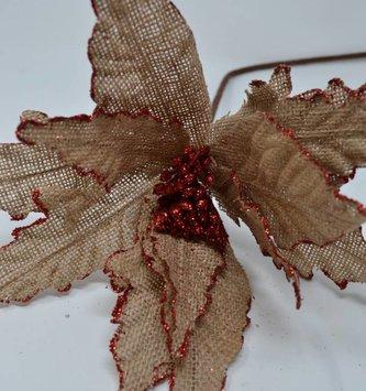 Red Glitter Burlap Poinsettia Stem