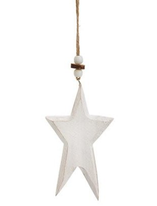 Whitewashed Wooden Star Ornament