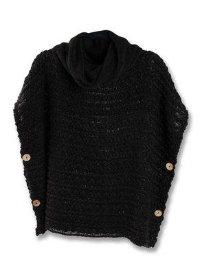 Knit Cowl Neck Button Cape  (3 Colors)