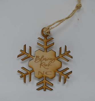 Wooden Blowing Rock Snowflake Ornament