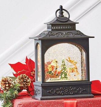 LED Santa in Sleigh Snow Globe Lantern