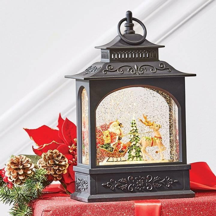 LED Santa in Sleigh Snow Globe Lantern