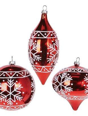 Red Metallic Snowflake Ornament (3 Styles)