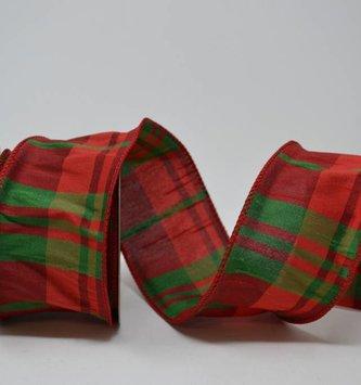 Red Green Dupion Plaid Ribbon 10 Yds