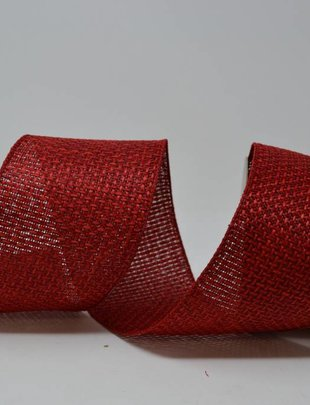 Red Linen Weave Ribbon 10 Yds