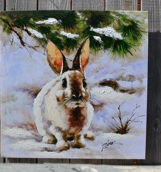 Snow Bunny Oil Canvas