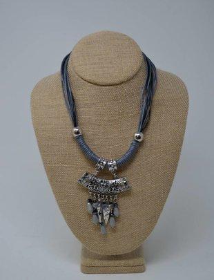 Short Blue Charm Necklace