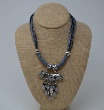 Short Blue Charm Necklace